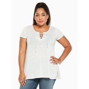 Torrid Gray Lace Up Lace Inset Short Sleeve T 2X